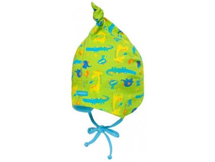 Kvalitní dětská pletená batolecí čepice Maximo zvířátka v zelené barvě