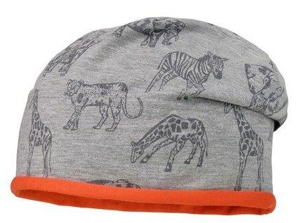 Kvalitní dětská bavlněná zimní čepice Maximo sloni a zebry v šedé barvě