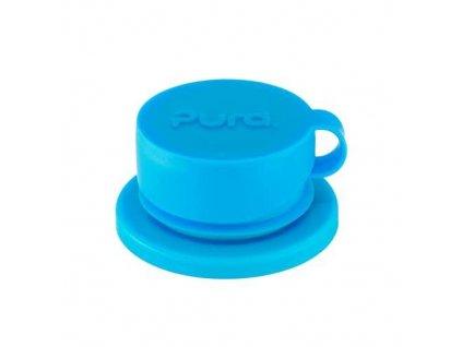 Kvalitní silikonový sportovní uzávěr s vodotěsným víčkem pro lahve Pura Big Mouth v modré barvě