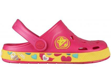 Kvalitní dětské plážové sandály croksy Coqui Froggy v fuchsiovo-žluté barvě