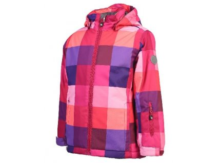 Kvalitní dětská zimní zateplená lyžařská bunda s odnímatelnou kapucí a reflexními prvky Color Kids Riella ski jacket Violet indigo v červené barvě