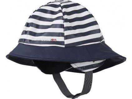 Kvalitní dětský klobouček do deště Didriksons Southwest print v modro-bílé barvě