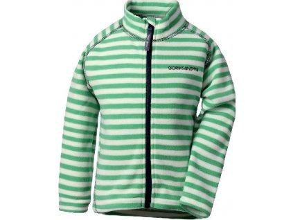 Kvalitní dětská hřejivá jarní fleecová mikina Didriksons Monte print v zelené barvě