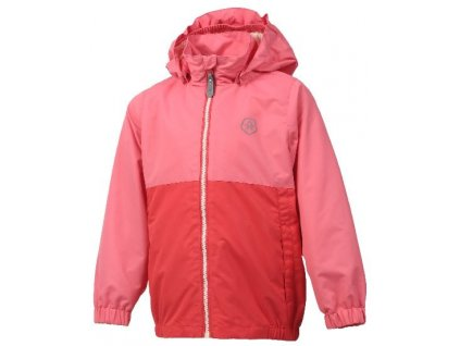 Kvalitní dětská nepromokavá jarní bunda s kapucí a reflexními prvky Color Kids Thy - Coral red v červené barvě