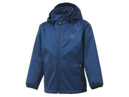Kvalitní dětská prodyšná jarní softshellová bunda s kapucí a reflexními prvky Color Kids Ralado - Estate blue v modré barvě