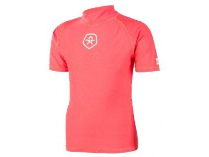 Kvalitní dětské rychleschnoucí tričko s UV ochranou Color Kids Timon - Fiery coral v korálové barvě