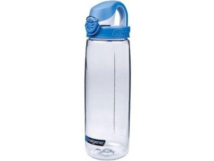Kvalitní dětská plastová láhev bez BPA Nalgene OTF 650 ml čirá - modré víčko