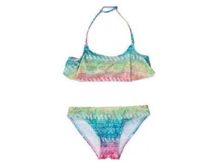 Kvalitní dívčí 2-dílné rychleschnoucí plavky Losan sv. růžovo-tyrkysové