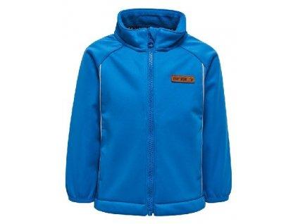 Kvalitní dětská zateplená jarní softshellová bunda s kapucí a reflexními prvky LEGO® Wear Sander 206 v modré barvě