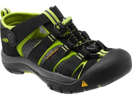 Kvalitní dětské odolné sandály pro sport a výlety Keen Newport H2 black/lime green v černo-zelené barvě