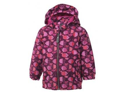 Kvalitní dětská nepromokavá jarní outdoorová bunda s kapucí a reflexními prvky Color Kids Torke - Magenta purple ve vínové barvě