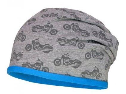 Kvalitní dětská bavlněná zimní čepice Maximo s motorkama v šedé barvě