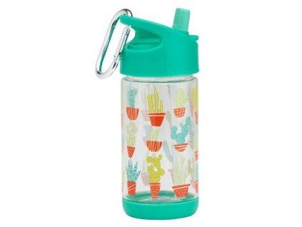 Kvalitní dětská lahvička s karabinou je vyrobena z vysoce kvalitního tritanu Sugarbooger Flip and Sip - Happy Cactus v zelené barvě