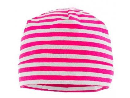 Kvalitní dětská bavlněná zimní čepice Maximo v růžovo-bílé barvě