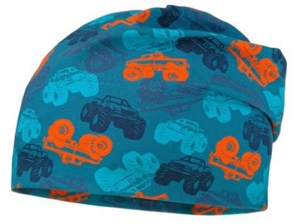 Kvalitní dětská bavlněná zimní čepice Maximo truck v tyrkysové barvě