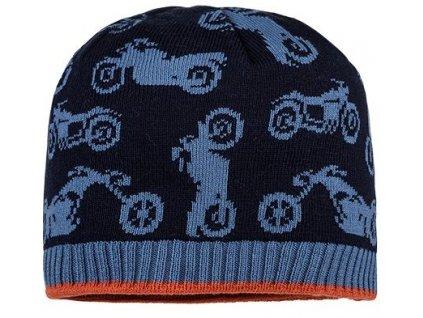 Kvalitní dětská zimní čepice Maximo motorky v modré barvě