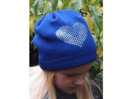 Kvalitní dětská zimní čepice Maximo se srdíčkem v modré barvě