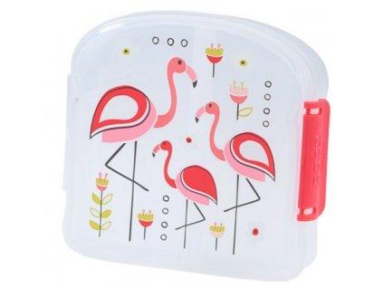 Kvalitní dětská svačinová krabička s třemi oddělenými částmi a bez BPA Sugarbooger Good Lunch sandwich box - Flamingo