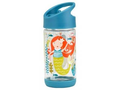 Kvalitní dětská lahvička s karabinou je vyrobena z vysoce kvalitního tritanu Sugarbooger Flip and Sip - Isla the Mermaid v modré barvě