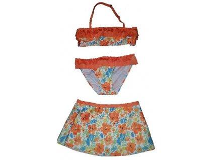Kvalitní dívčí 3-dílné rychleschnoucí plavky Losan oranžové kytky