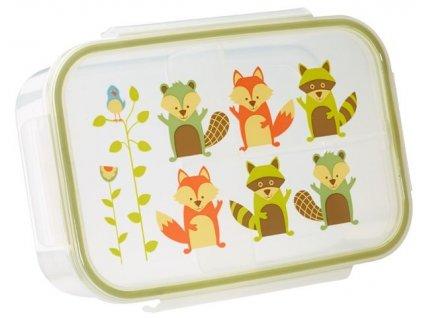 Kvalitní dětská svačinová krabička s třemi oddělenými částmi a bez BPA Sugarbooger Good Lunch box - What did the Fox Eat