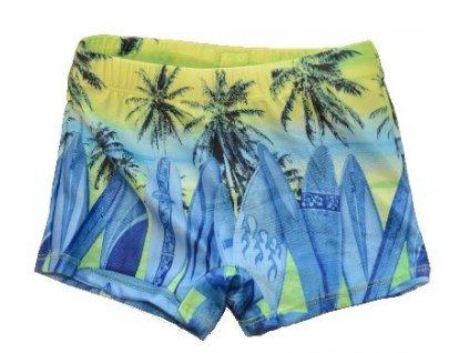 Kvalitní chlapecké rychleschnoucí šortkové plavky s UV ochranou Losan palmy limetkové