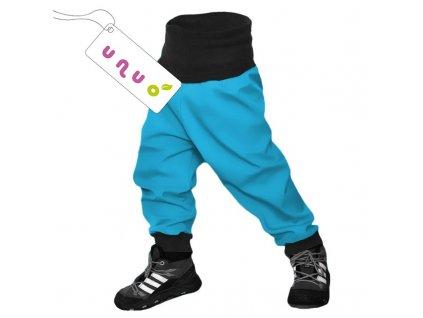 Kvalitní dětské lehké softshellové kalhoty s reflexními prvky Unuo Evžen v tyrkysové barvě