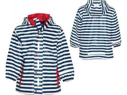 Kvalitní dětská nepromokavá jarní bunda (pláštěnka) s kapucí a reflexními prvky Playshoes v námořním stylu