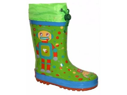 Kvalitní dětské gumáky se stahovací šňůrou Pidilidi robot v zelené barvě