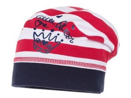 6e2d92815a8 Kvalitní dětská bavlněná zimní čepice Maximo Queen v červeno-bílé barvě