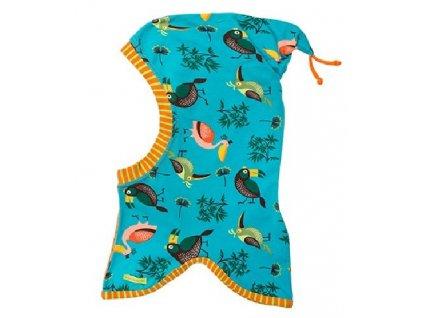 Kvalitní dětská bavlněná kukla Maximo ptáčci v tyrkysové barvě
