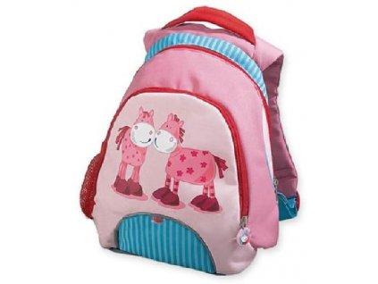 Kvalitní nylonový, komfortní a propracovaný dětský batoh pro nejmenší cestovatele Haba koníčci v růžové barvě