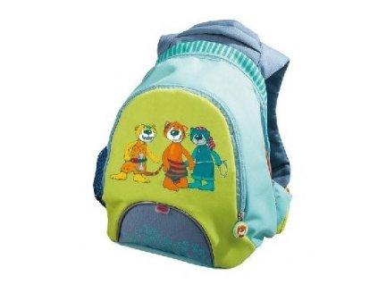 Kvalitní nylonový, komfortní a propracovaný dětský batoh pro nejmenší cestovatele Haba tygříci v tyrkysové barvě