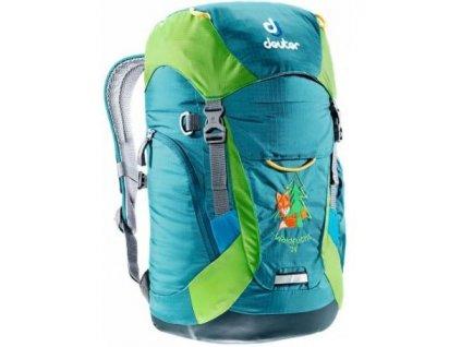Kvalitní nylonový, komfortní a propracovaný turistický batoh pro předškoláky Deuter Waldfuchs Petrol - kiwi v zelené barvě