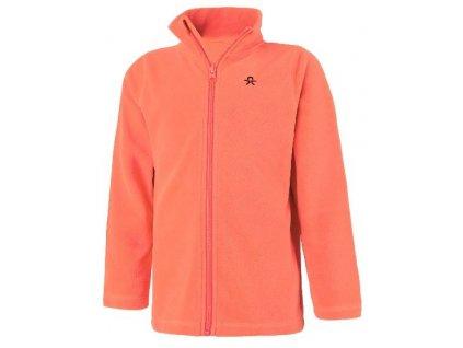 Kvalitní dětská hřejivá jarní fleecová mikina Color Kids Tembing fleece jacket Fiery coral v oranžové barvě