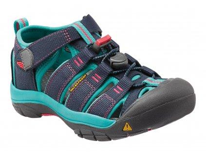 Kvalitní dětské odolné sandály pro sport a výlety Keen Newport H2 K midnight navy/ baltic v modré barvě