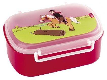 Kvalitní dětská krabička na svačinu s druhou odjímatelnou krabičkou na ovoce Sigikid Pony Sue v červené barvě