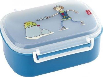 Kvalitní dětská plastová krabička na svačinu s druhou odjímatelnou krabičkou na ovoce Sigikid Ritter Rittich v modré barvě