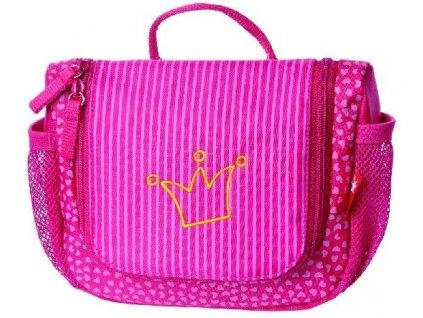 Kvalitní lehká závěsná nylonová toaletní taštička Sigikid Pinky Queeny v růžové barvě