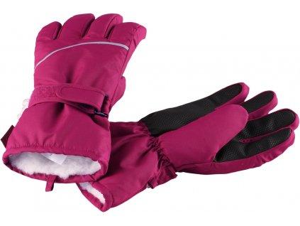 Kvalitní dětské zimní nepromokavé rukavice prstové Reima Harald - pink v růžové barvě