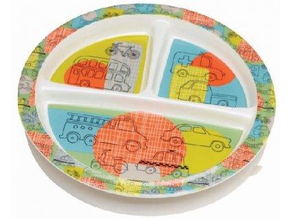 Kvalitní dětský talířek ze zdravotně nezávadného melaminu a bez BPA Sugarbooger Divided suction plate Road trip