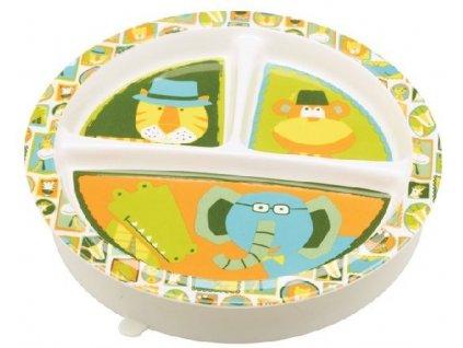 Kvalitní dětský talířek ze zdravotně nezávadného melaminu a bez BPA Sugarbooger Divided suction plate It's a jungle