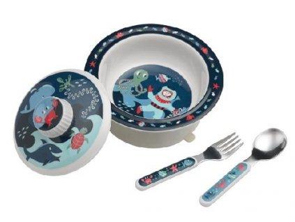 Kvalitní dětský set talířku a příboru vyroben z melaminu a bez BPA Sugarbooger Suction bowl set Ocean