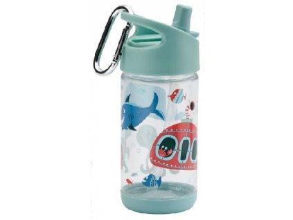 Kvalitní dětská lahvička s karabinou je vyrobena z vysoce kvalitního tritanu Sugarbooger Flip and Sip Ocean ve světle modré barvě