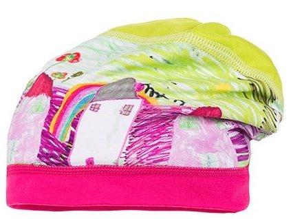Kvalitní dětská bavlněná čepice Maximo domečky v limetkové barvě
