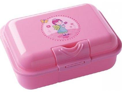 Kvalitní dětská plastová krabička na svačinu s odděleným vnitřkem Haba Víla v růžové barvě