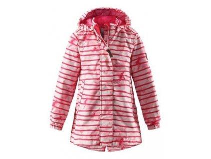 Kvalitní dětská dívčí nepromokavá lehká jarní bunda s membránou, kapucí a reflexními prvky Reima Kimalle - raspberry red ve světle červené barvě