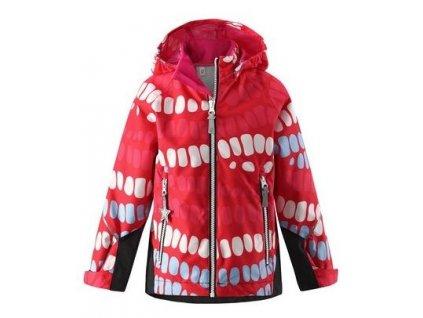 Kvalitní dětská dívčí nepromokavá lehká jarní bunda s membránou, kapucí a reflexními prvky Reima Kiddo Segel - red v červené barvě