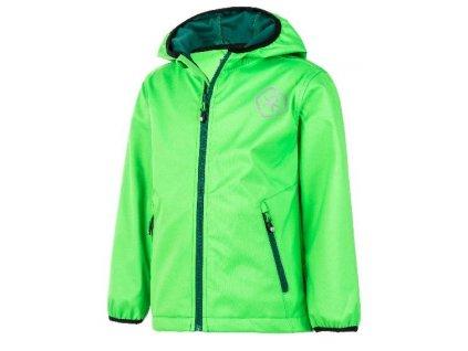 Kvalitní dětská prodyšná jarní softshellová bunda s kapucí a reflexními prvky Color Kids Barkin - Toucan green v zelené barvě