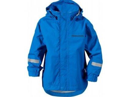 Kvalitní dětská nepromokavá bunda s membránou, kapucí a reflexními prvky Didriksons Noorooma v modré barvě